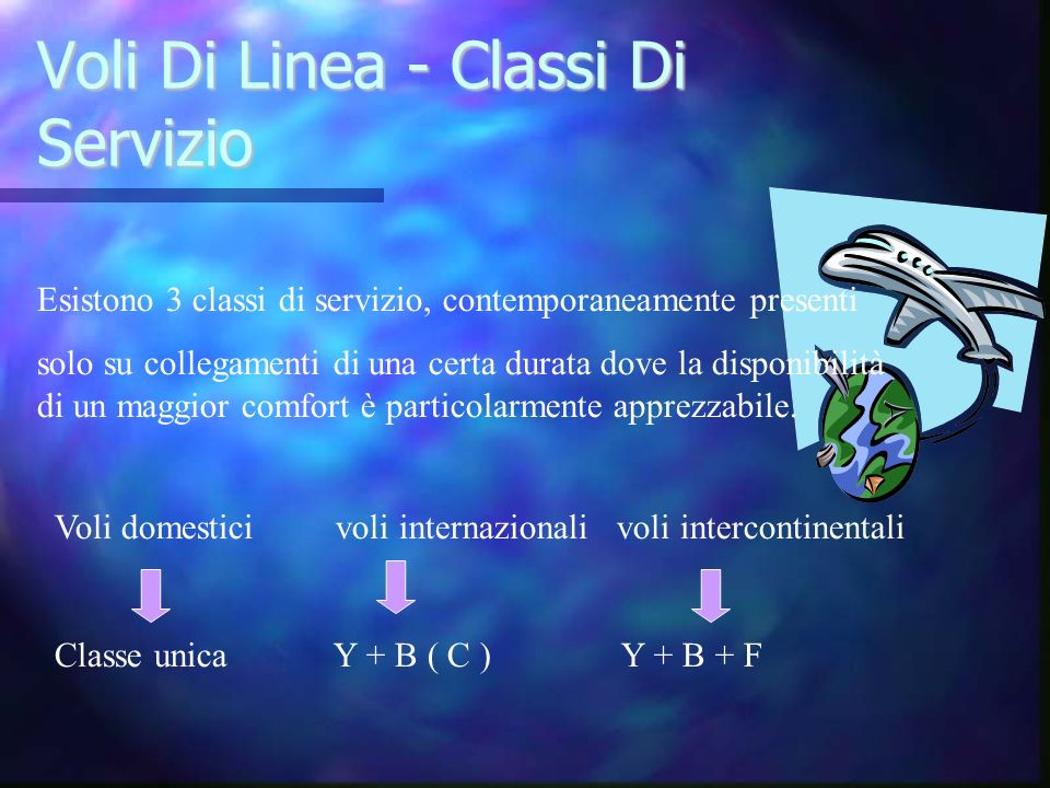 Voli Di Linea - Classi Di Servizio