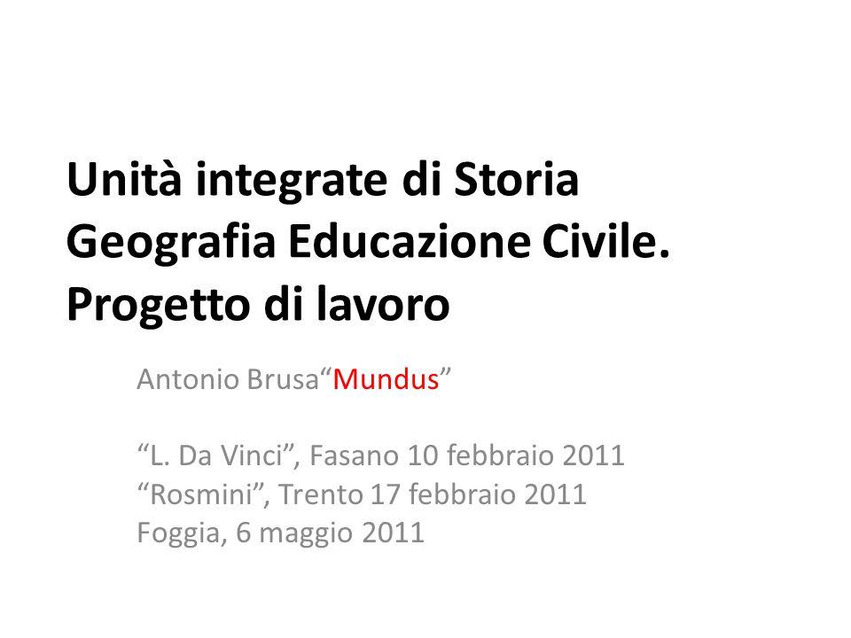 Unità integrate di Storia Geografia Educazione Civile