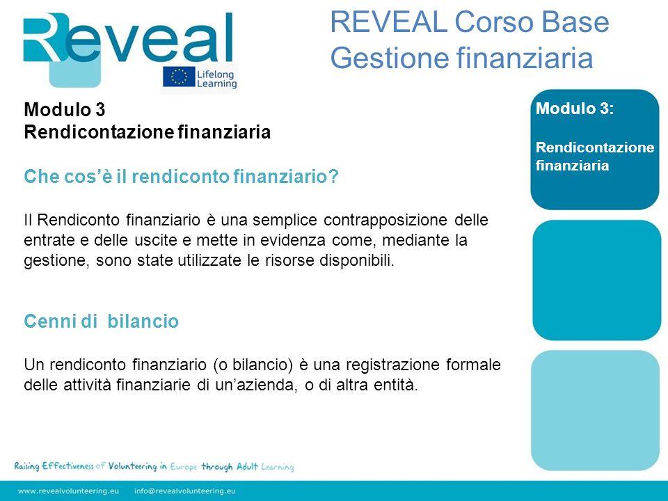 REVEAL Corso Base Gestione finanziaria Modulo 3