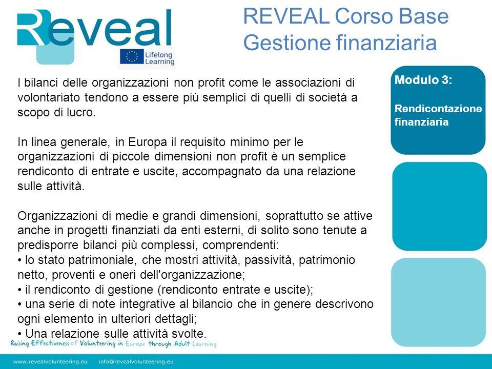 REVEAL Corso Base Gestione finanziaria Modulo 3: