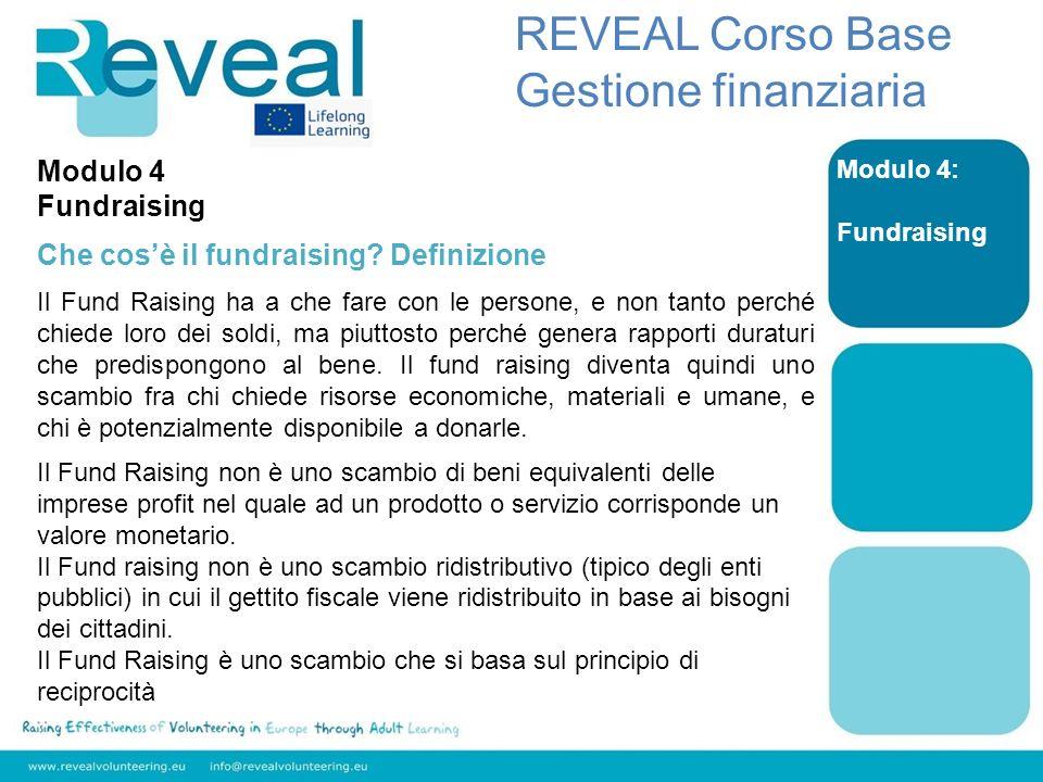 REVEAL Corso Base Gestione finanziaria Modulo 4 Fundraising