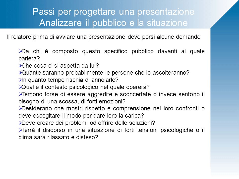 Passi per progettare una presentazione