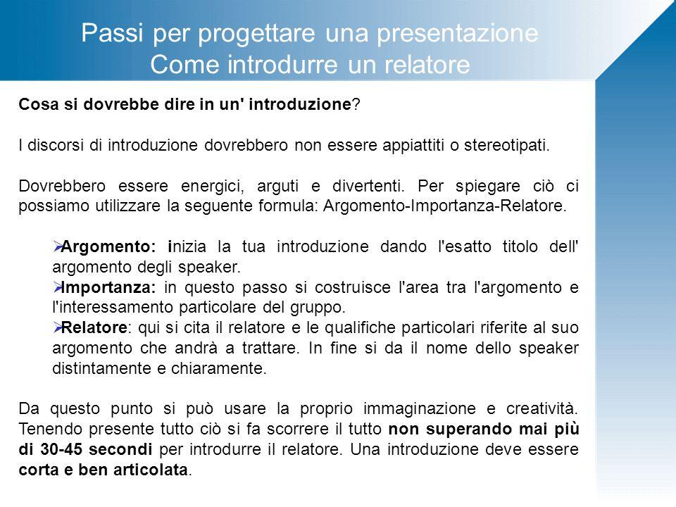 Passi per progettare una presentazione Come introdurre un relatore