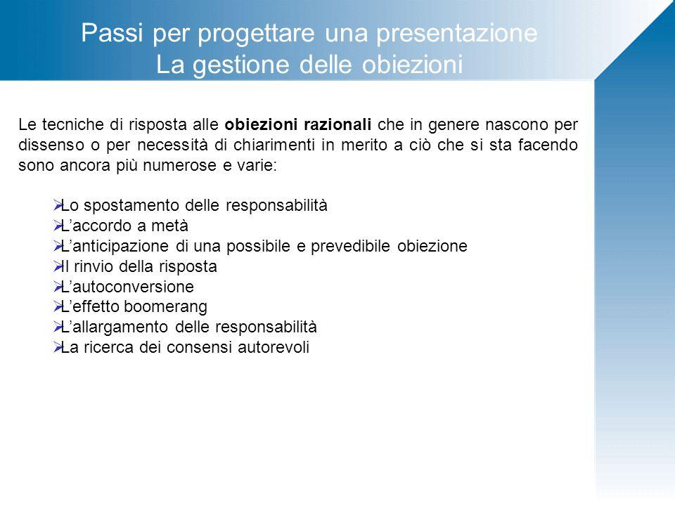 Passi per progettare una presentazione La gestione delle obiezioni