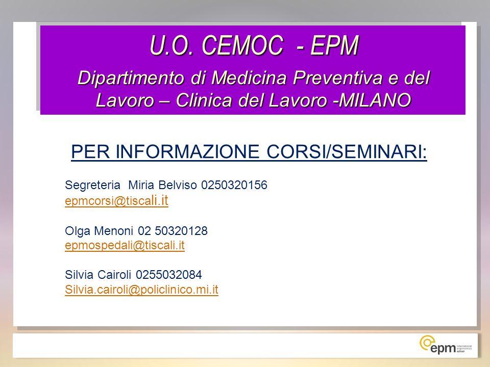 PER INFORMAZIONE CORSI/SEMINARI:
