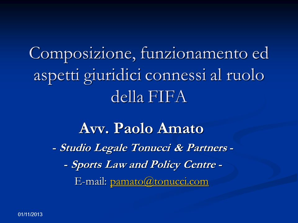 - Studio Legale Tonucci & Partners - - Sports Law and Policy Centre -