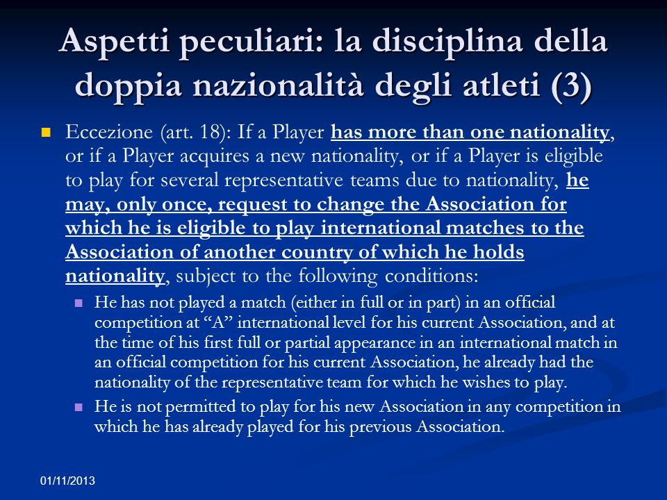 Aspetti peculiari: la disciplina della doppia nazionalità degli atleti (3)