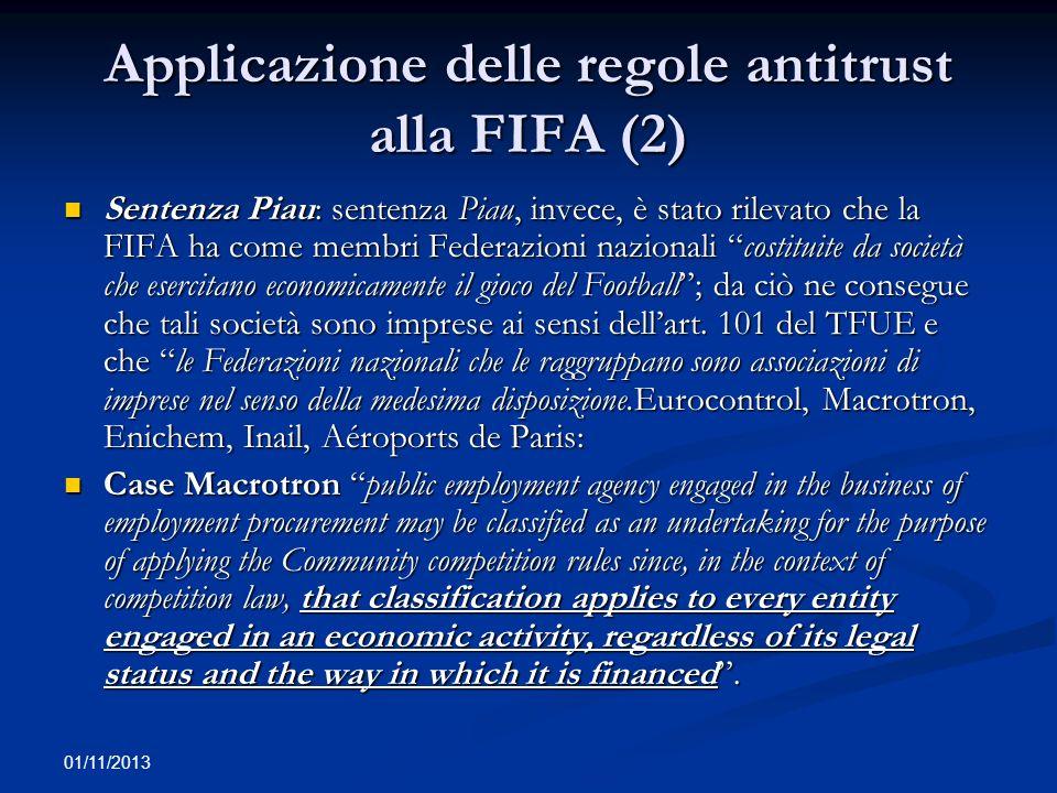 Applicazione delle regole antitrust alla FIFA (2)