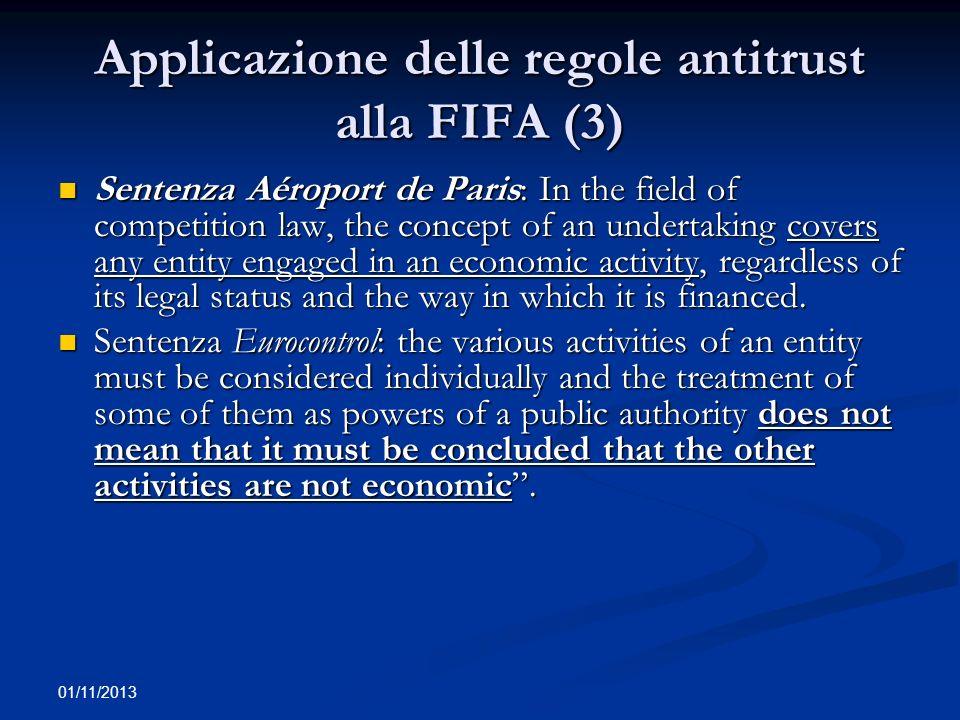 Applicazione delle regole antitrust alla FIFA (3)