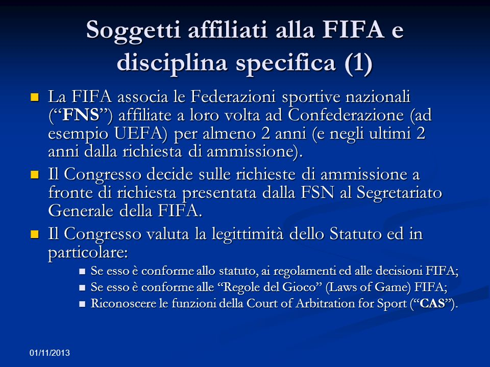 Soggetti affiliati alla FIFA e disciplina specifica (1)