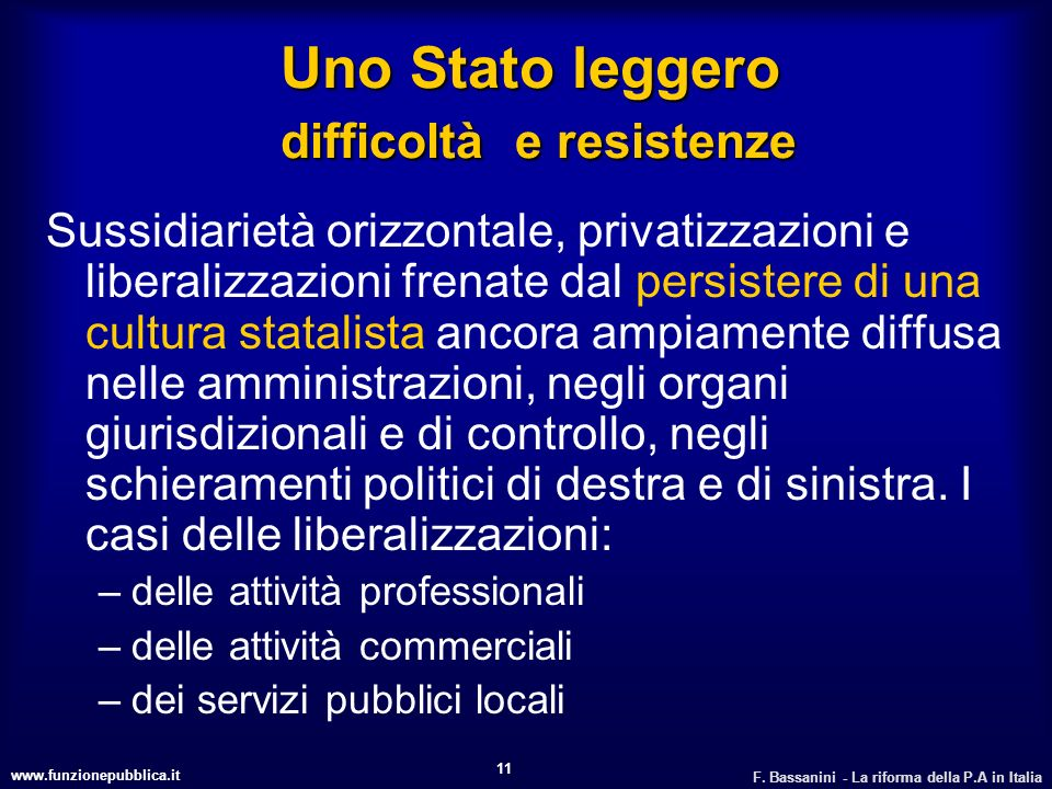 Uno Stato leggero difficoltà e resistenze