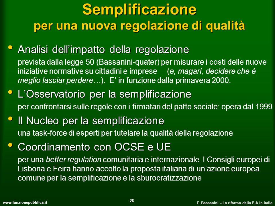 Semplificazione per una nuova regolazione di qualità