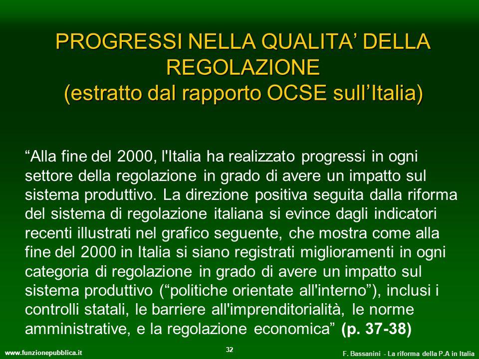 PROGRESSI NELLA QUALITA' DELLA REGOLAZIONE (estratto dal rapporto OCSE sull'Italia)
