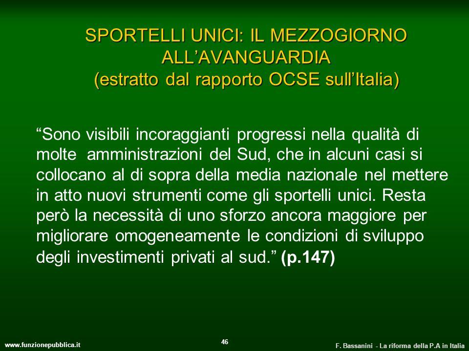 SPORTELLI UNICI: IL MEZZOGIORNO ALL'AVANGUARDIA (estratto dal rapporto OCSE sull'Italia)