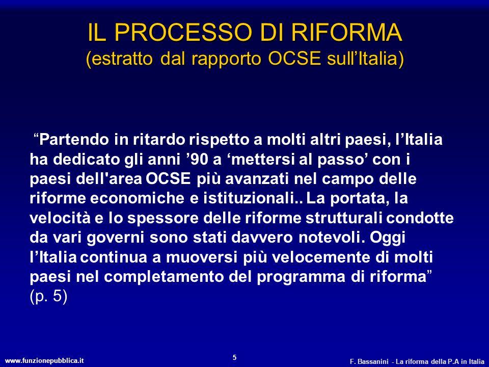 IL PROCESSO DI RIFORMA (estratto dal rapporto OCSE sull'Italia)