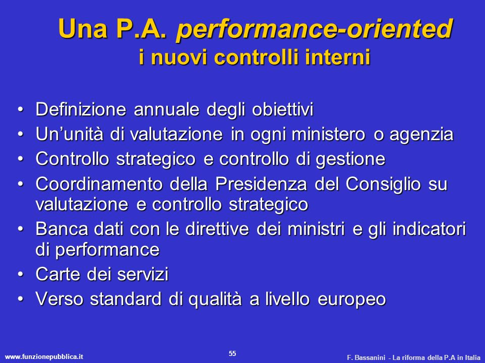Una P.A. performance-oriented i nuovi controlli interni