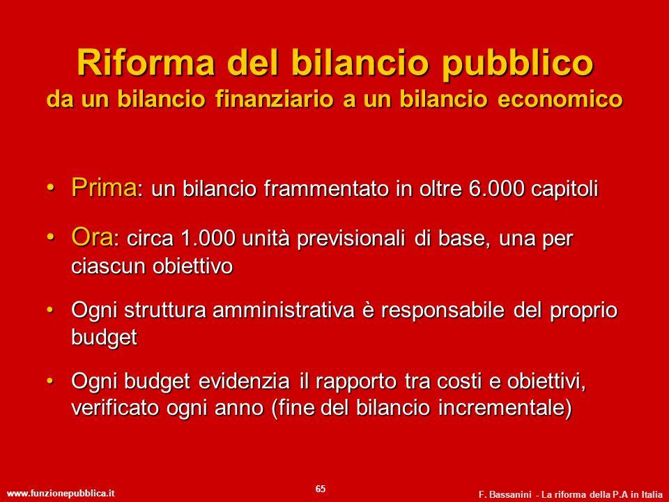 Riforma del bilancio pubblico da un bilancio finanziario a un bilancio economico
