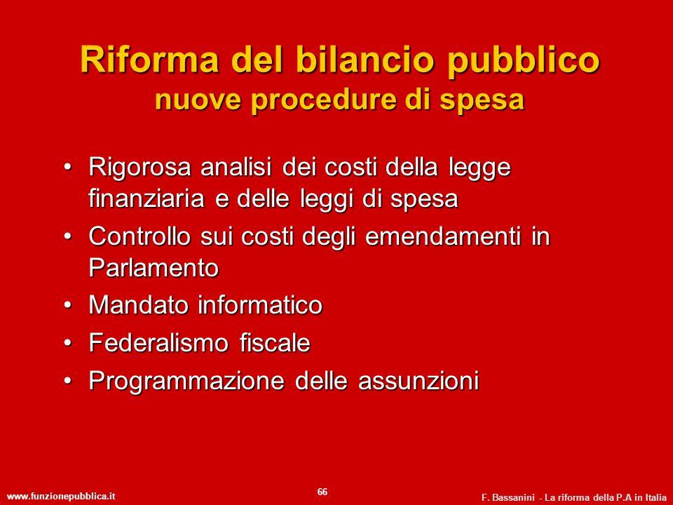 Riforma del bilancio pubblico nuove procedure di spesa