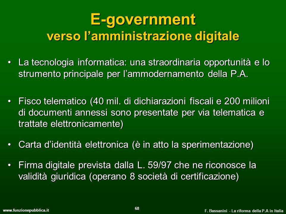 E-government verso l'amministrazione digitale