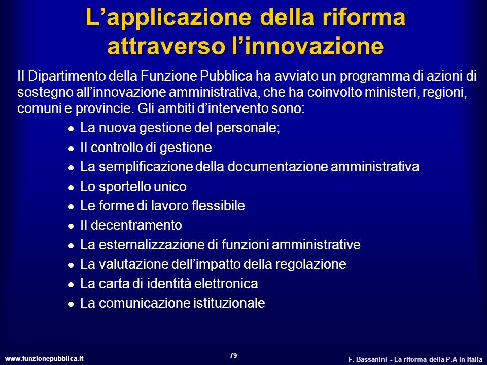 L'applicazione della riforma attraverso l'innovazione