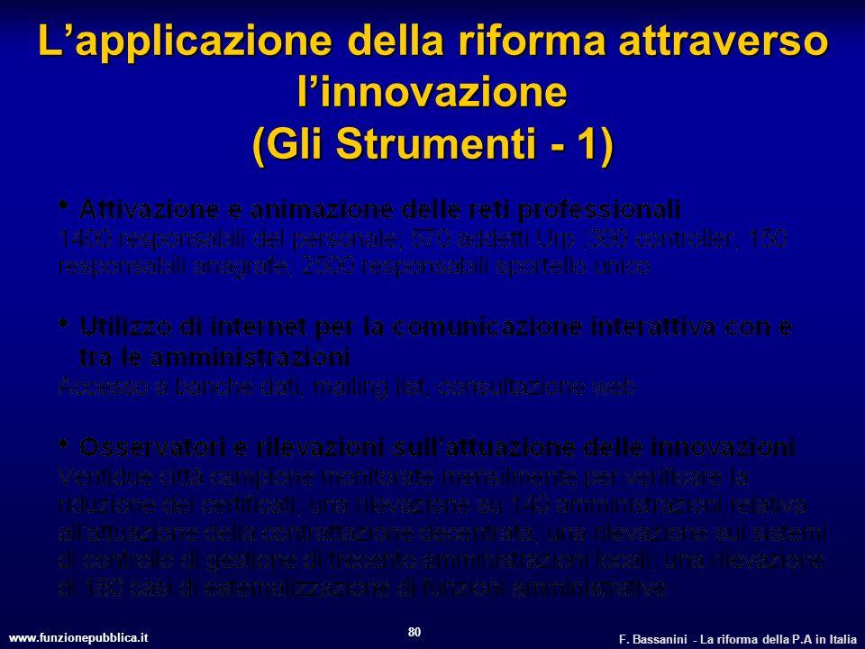 L'applicazione della riforma attraverso l'innovazione (Gli Strumenti - 1)