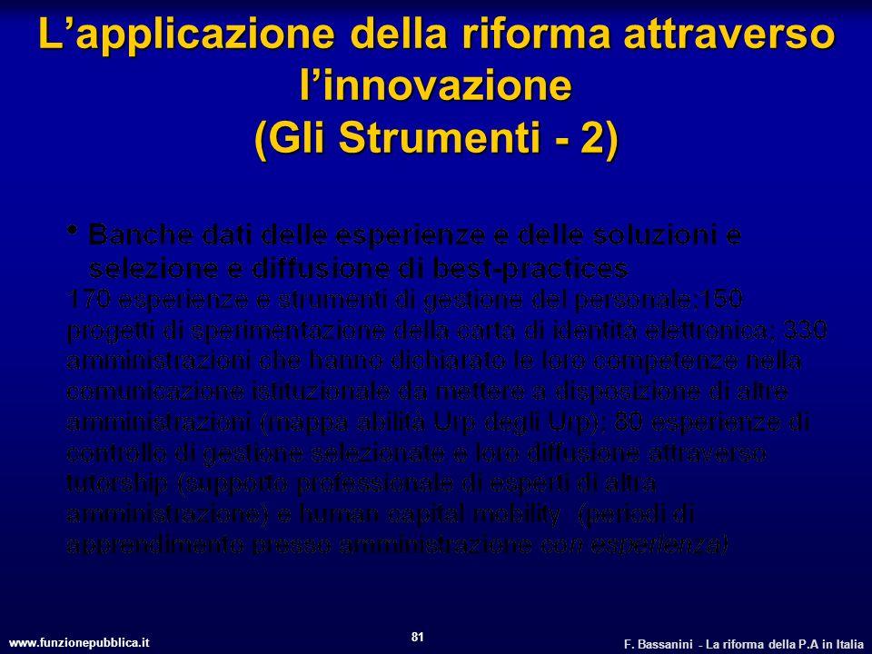 L'applicazione della riforma attraverso l'innovazione (Gli Strumenti - 2)