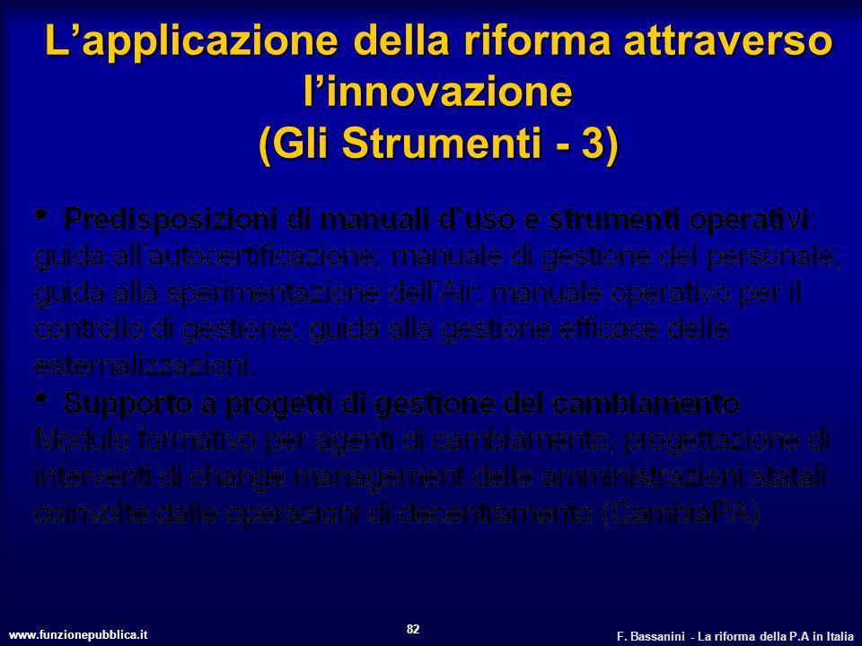 L'applicazione della riforma attraverso l'innovazione (Gli Strumenti - 3)
