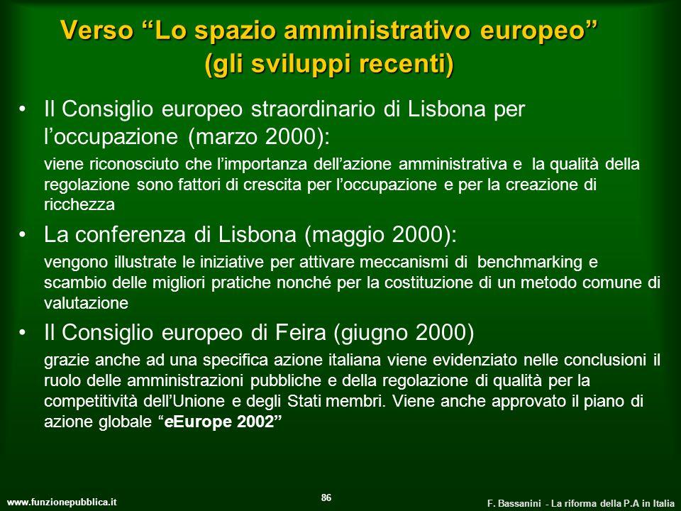 Verso Lo spazio amministrativo europeo (gli sviluppi recenti)