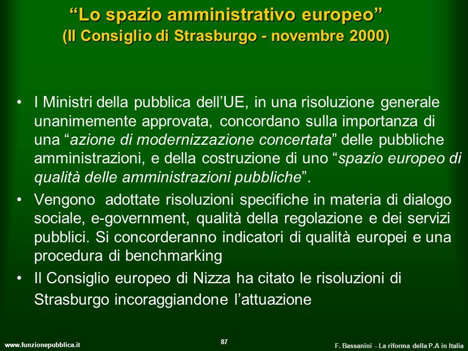 Lo spazio amministrativo europeo (Il Consiglio di Strasburgo - novembre 2000)