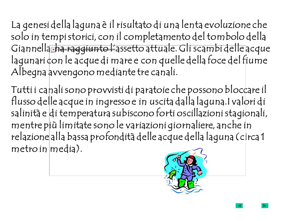 La genesi della laguna è il risultato di una lenta evoluzione che solo in tempi storici, con il completamento del tombolo della Giannella, ha raggiunto l'assetto attuale. Gli scambi delle acque lagunari con le acque di mare e con quelle della foce del fiume Albegna avvengono mediante tre canali.