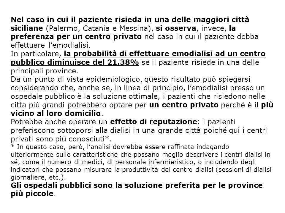 Nel caso in cui il paziente risieda in una delle maggiori città siciliane (Palermo, Catania e Messina), si osserva, invece, la preferenza per un centro privato nel caso in cui il paziente debba effettuare l'emodialisi.