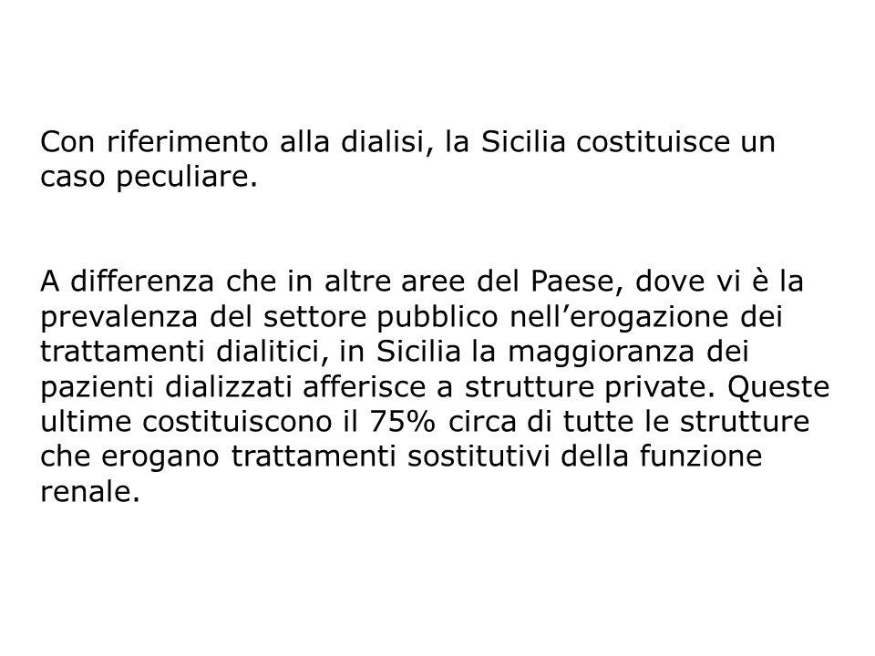 Con riferimento alla dialisi, la Sicilia costituisce un caso peculiare.