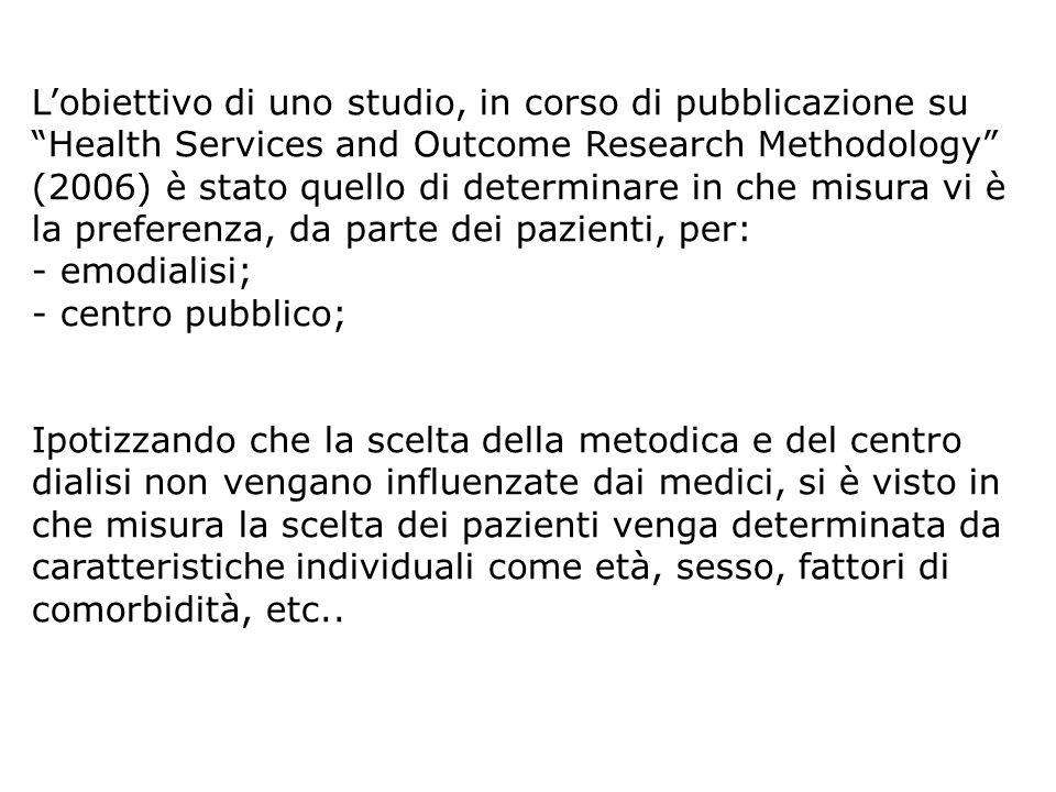 L'obiettivo di uno studio, in corso di pubblicazione su Health Services and Outcome Research Methodology (2006) è stato quello di determinare in che misura vi è la preferenza, da parte dei pazienti, per: