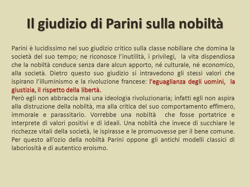 Il giudizio di Parini sulla nobiltà