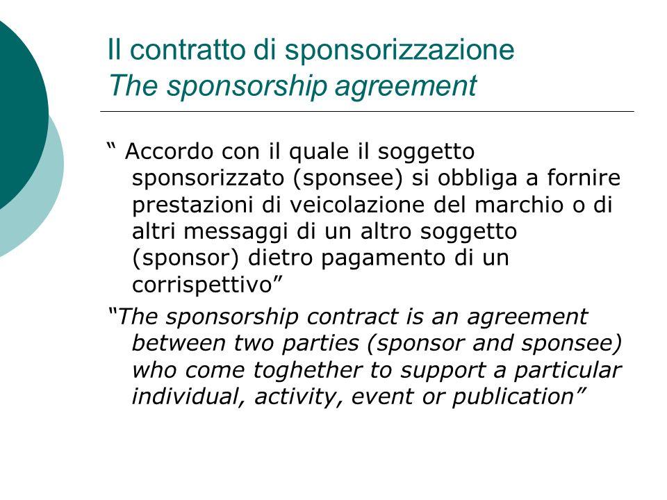 Il contratto di sponsorizzazione The sponsorship agreement