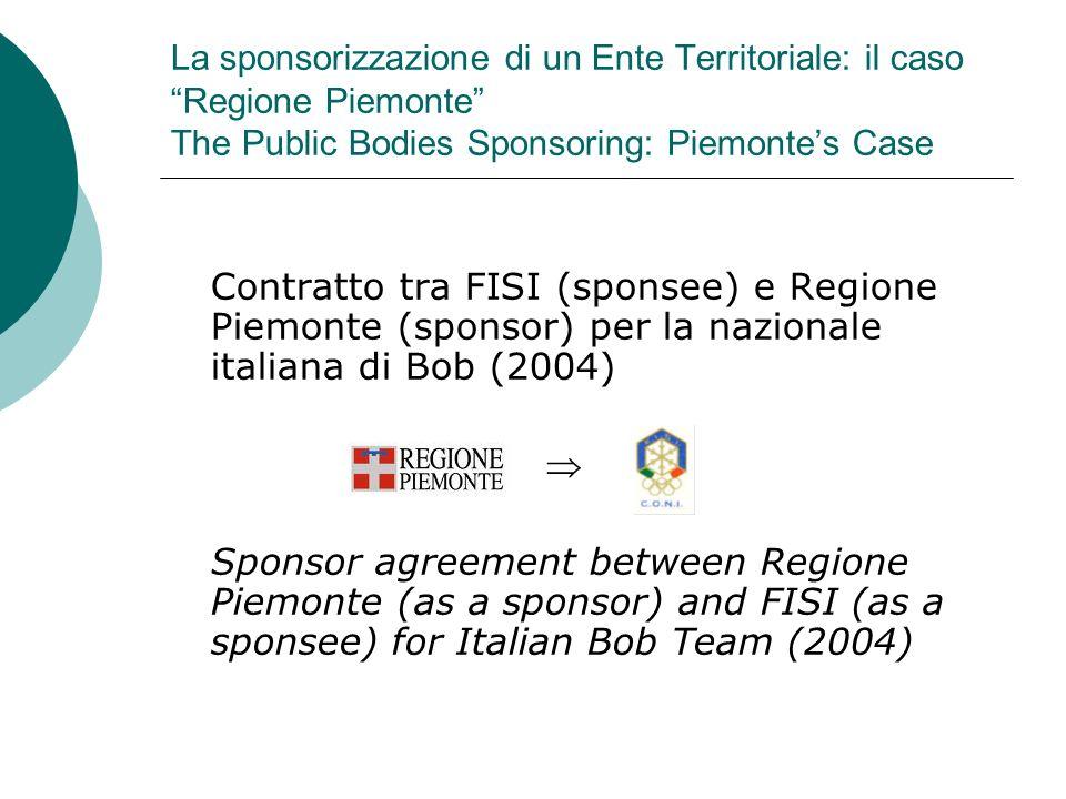 La sponsorizzazione di un Ente Territoriale: il caso Regione Piemonte The Public Bodies Sponsoring: Piemonte's Case