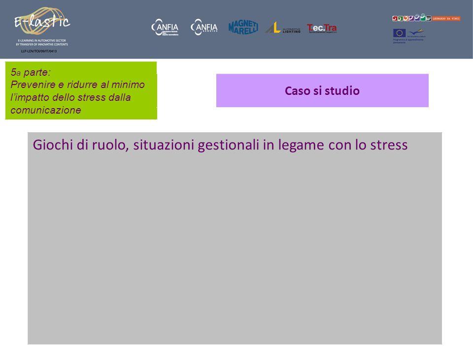 Giochi di ruolo, situazioni gestionali in legame con lo stress