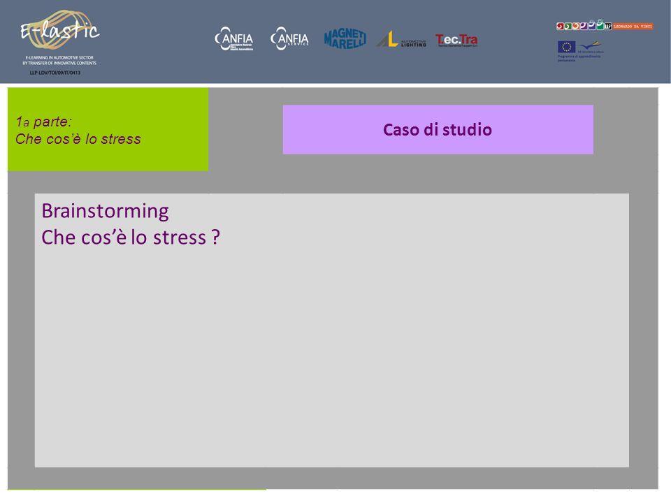 Brainstorming Che cos'è lo stress Caso di studio 1a parte: