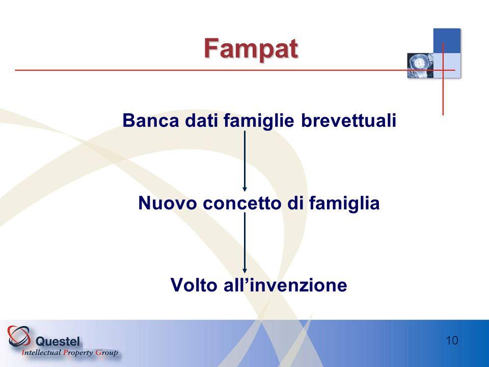 Banca dati famiglie brevettuali Nuovo concetto di famiglia