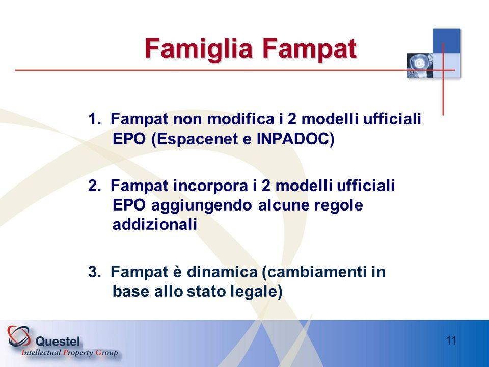 Famiglia Fampat1. Fampat non modifica i 2 modelli ufficiali EPO (Espacenet e INPADOC)