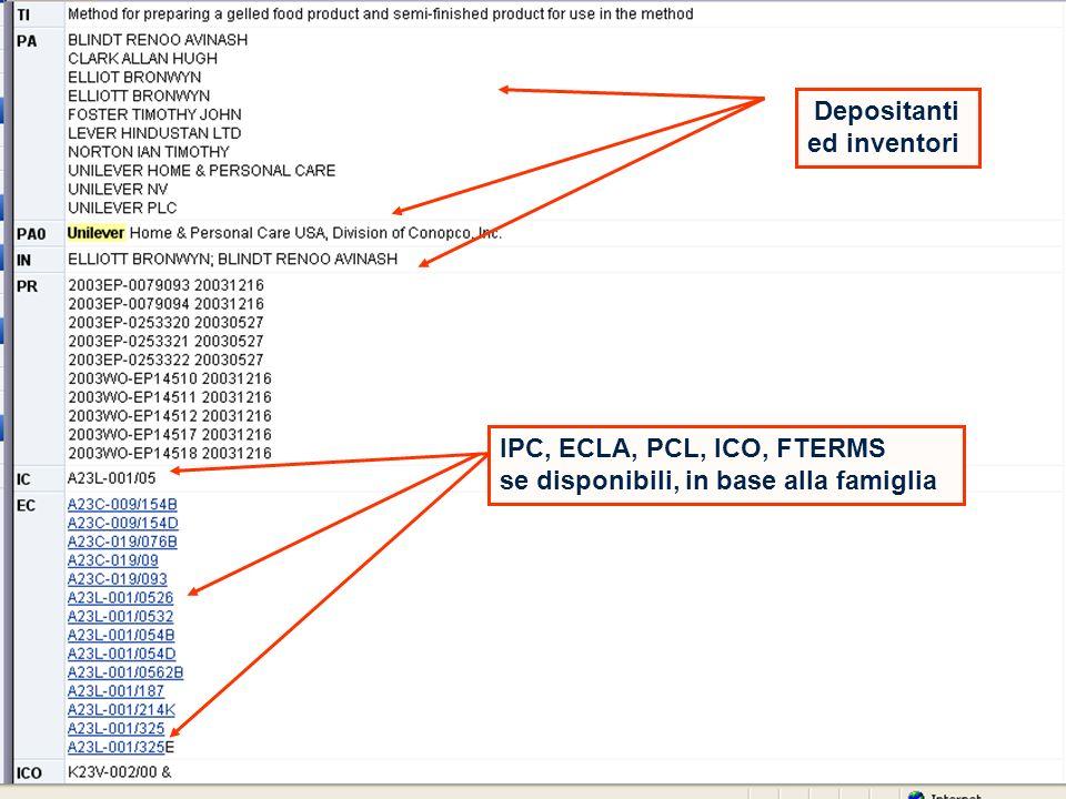 Depositanti ed inventori IPC, ECLA, PCL, ICO, FTERMS se disponibili, in base alla famiglia