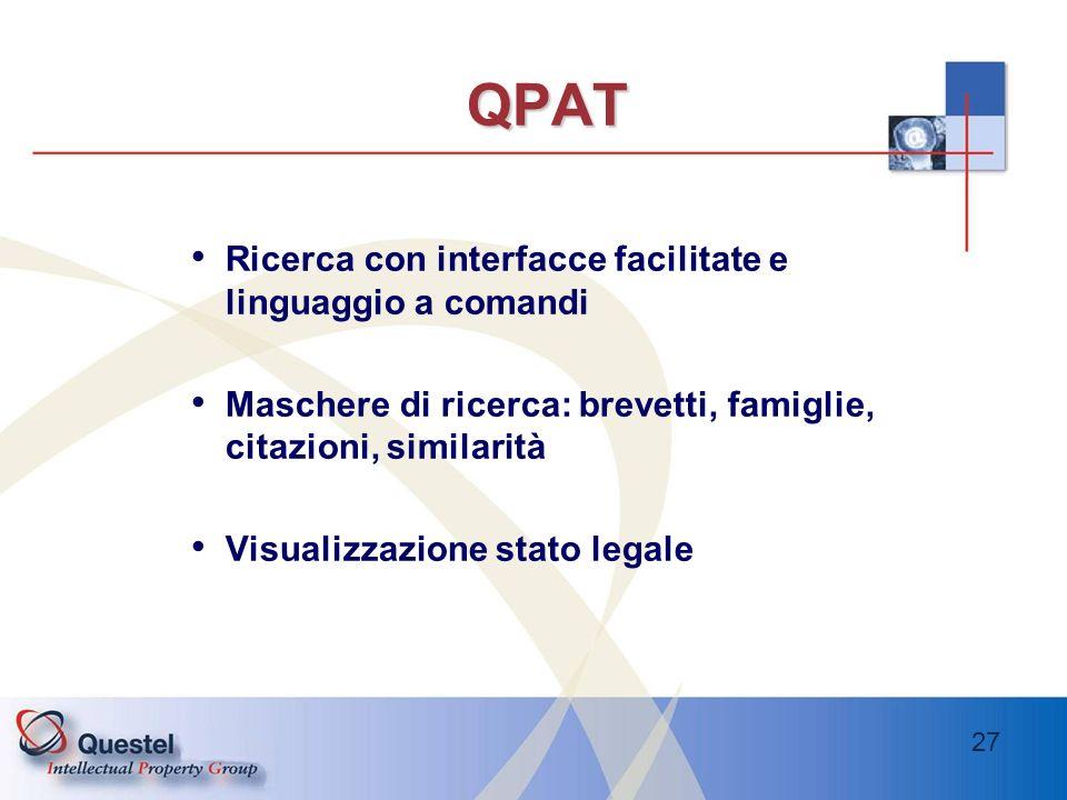 QPAT Ricerca con interfacce facilitate e linguaggio a comandi