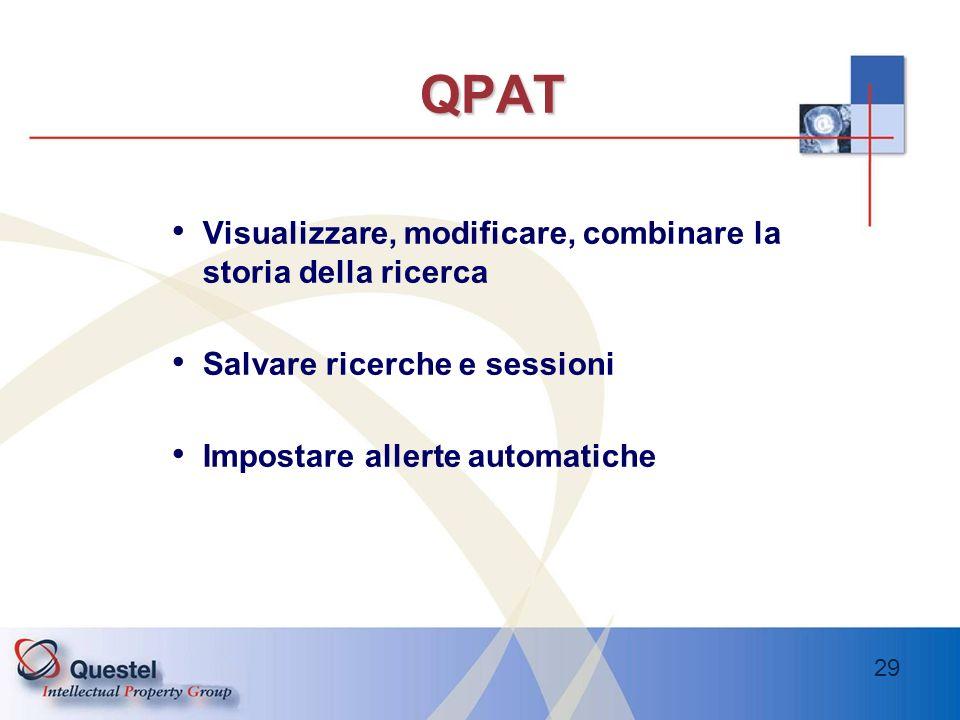 QPAT Visualizzare, modificare, combinare la storia della ricerca