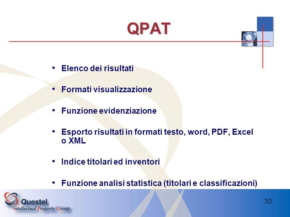 QPAT Elenco dei risultati Formati visualizzazione