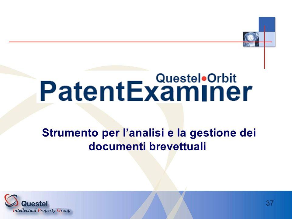 Strumento per l'analisi e la gestione dei documenti brevettuali