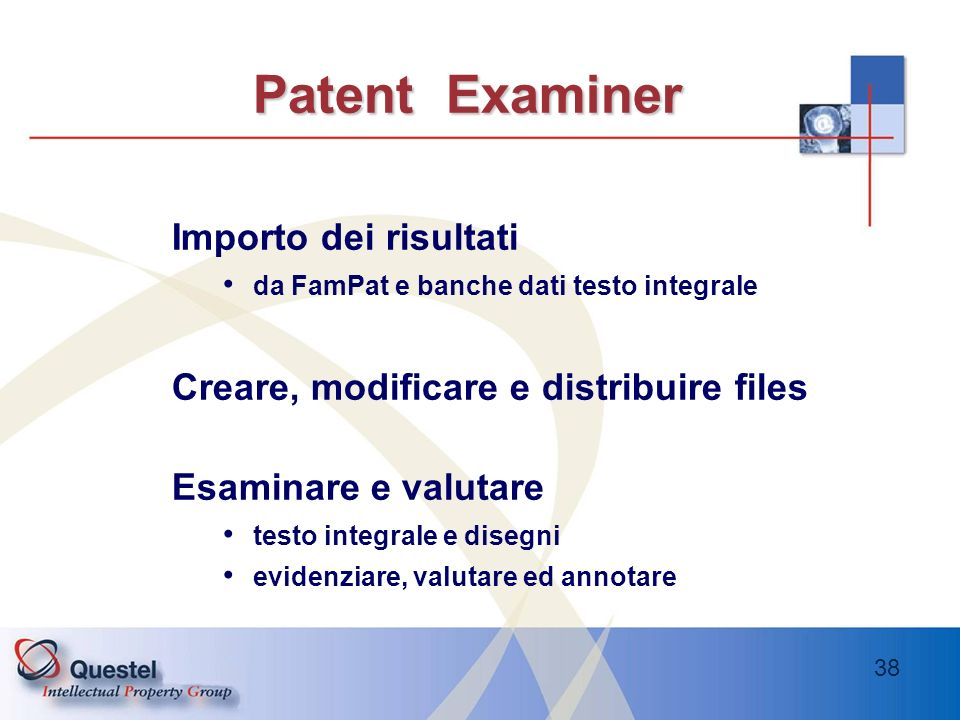 Patent Examiner Importo dei risultati