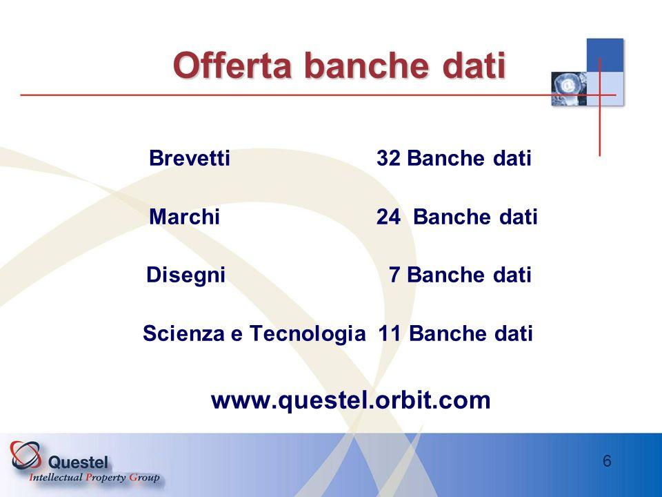 Offerta banche dati www.questel.orbit.com Brevetti 32 Banche dati