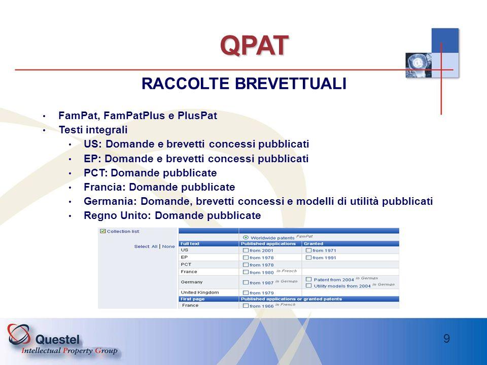 QPAT RACCOLTE BREVETTUALI FamPat, FamPatPlus e PlusPat Testi integrali