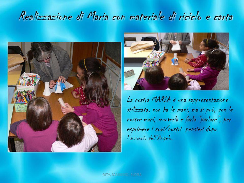 Realizzazione di Maria con materiale di riciclo e carta