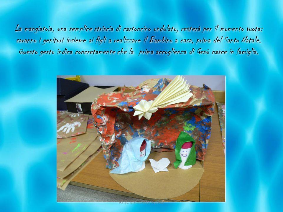 La mangiatoia, una semplice striscia di cartoncino ondulato, resterà per il momento vuota: saranno i genitori insieme ai figli a realizzare il Bambino a casa, prima del Santo Natale. Questo gesto indica concretamente che la prima accoglienza di Gesù nasce in famiglia.